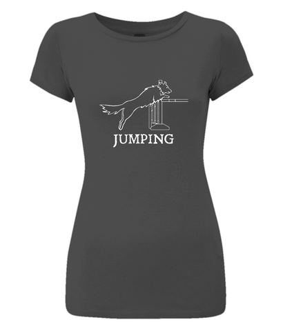 Dog Agility Ladies Slim-Fit T-Shirt - Jumping