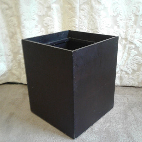 Black Wooden Square Bin