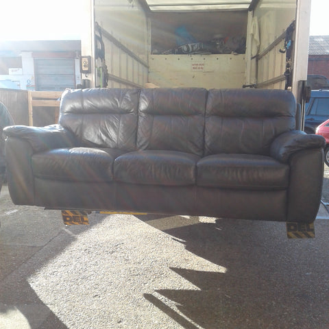 3 Seater Brown Leather Sofa (Shop)