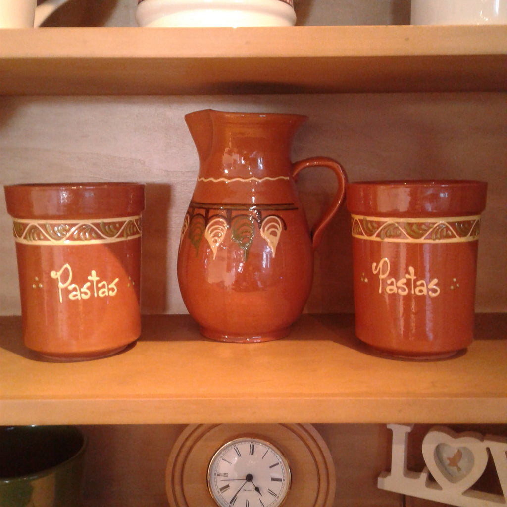 Terracotta Jug and Pair of Pots