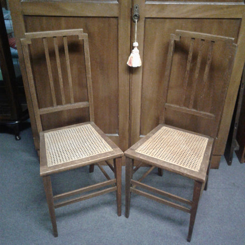 Wood with Cane Woven Seat Chair