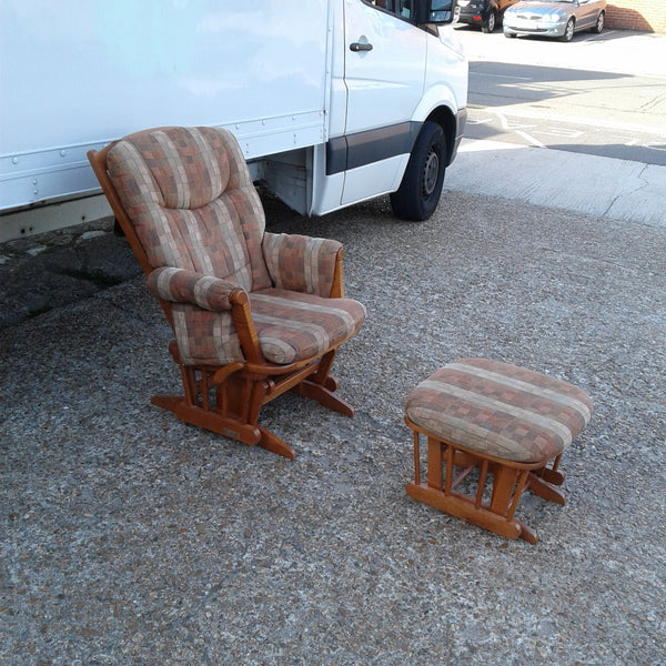 Checkered Pattern Rocking Chair + Rocking Footstool