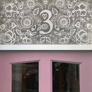 Blossom & Brush window film Bristol privacy frosted windowfilm Flora Door Numbers