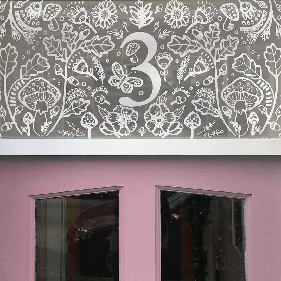 Blossom & Brush window film Bristol privacy frosted windowfilm Woodland Toadstool Door Numbers