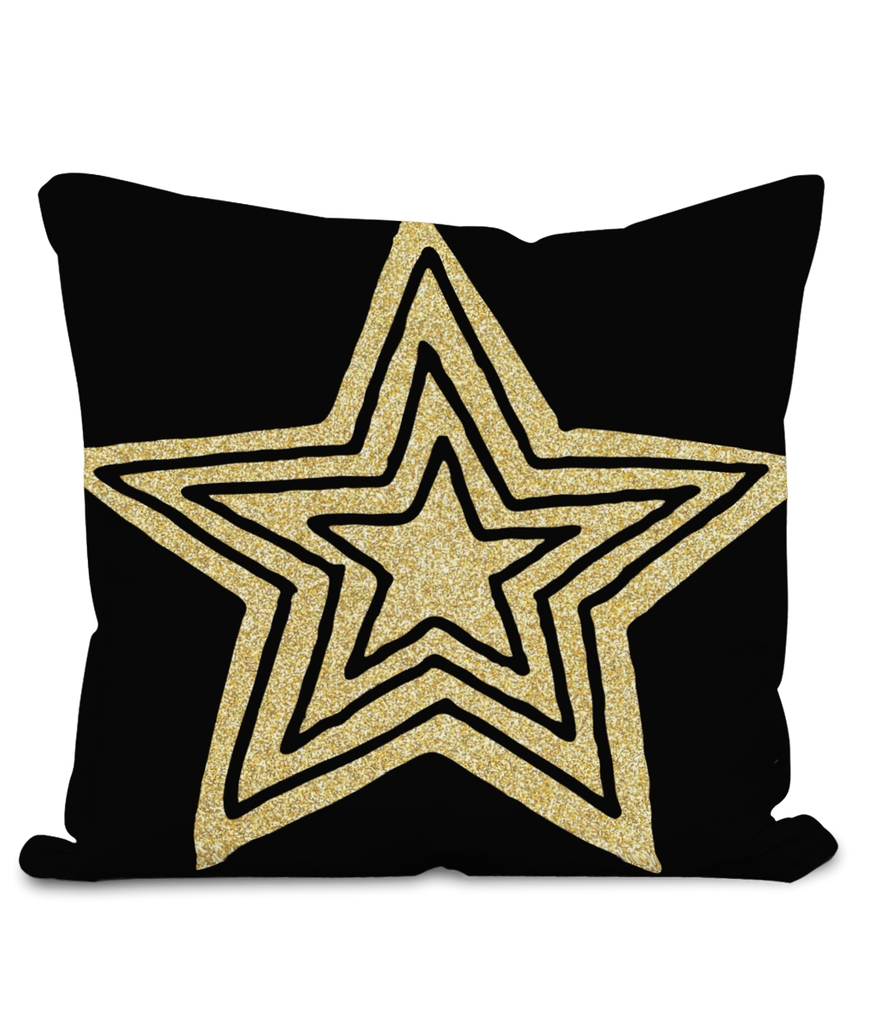 Black Star Burst Cushion