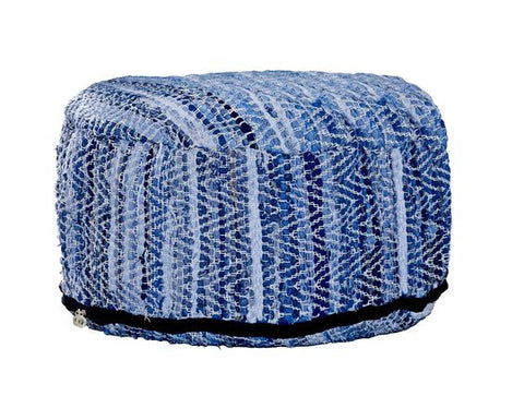 Bloomingville Denim Pouf from White Punch