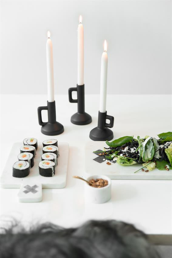 Set of 3 black ceramic candle holders from HK Living at White Punch UK