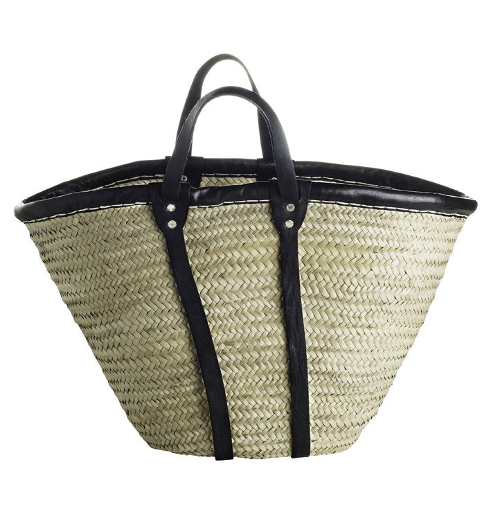 Natural Basket with Leather Straps from Tine K