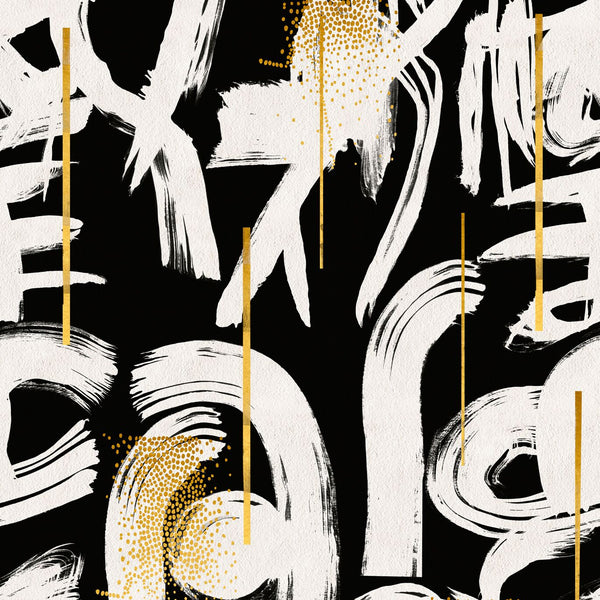 Mind The Gap Gestural Abstraction Wallpaper Black from White Punch