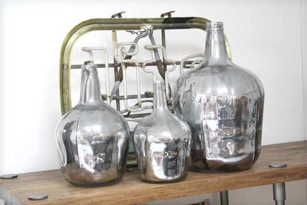 Silver 4 Litre Carafe Glass Bottle from HK Living