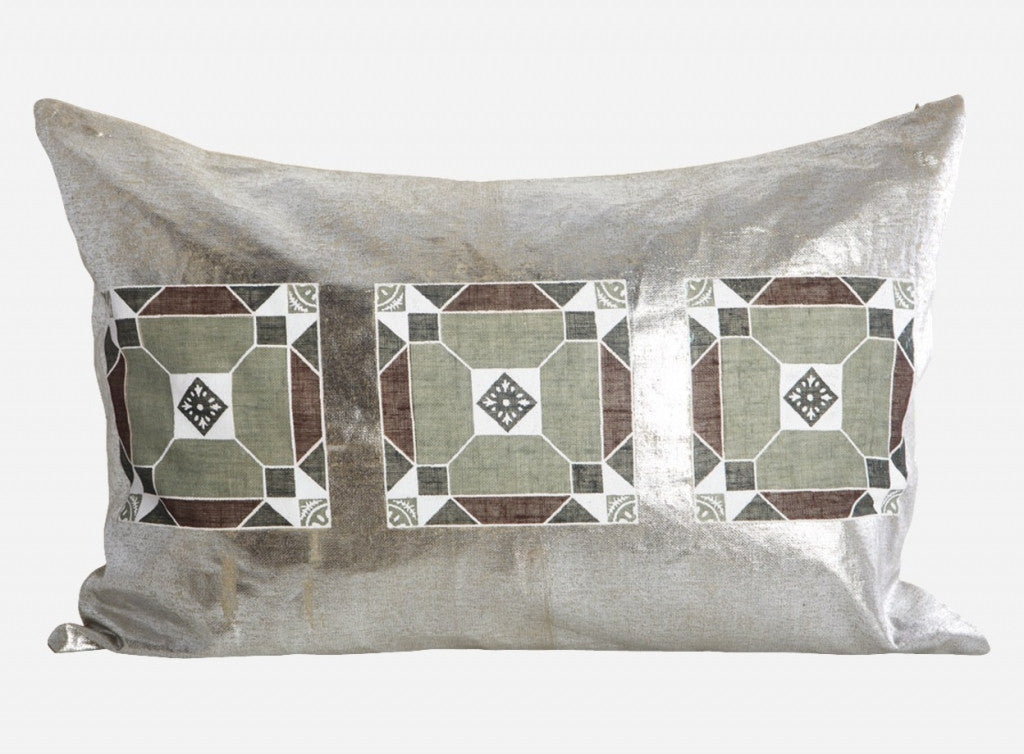Metallic linen tile cushion White Punch UK