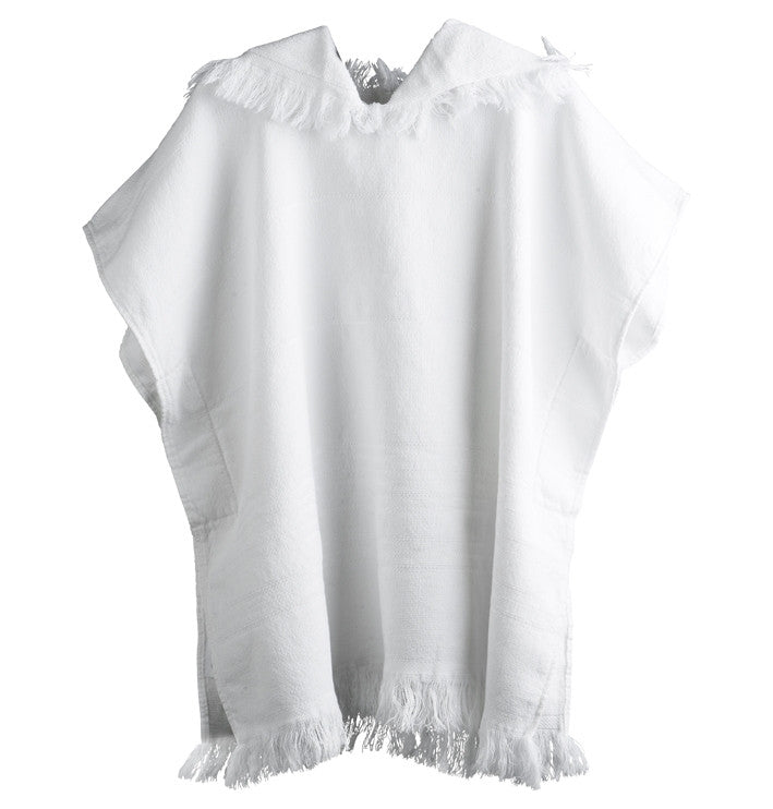 Hooded Towel Poncho for kids, White