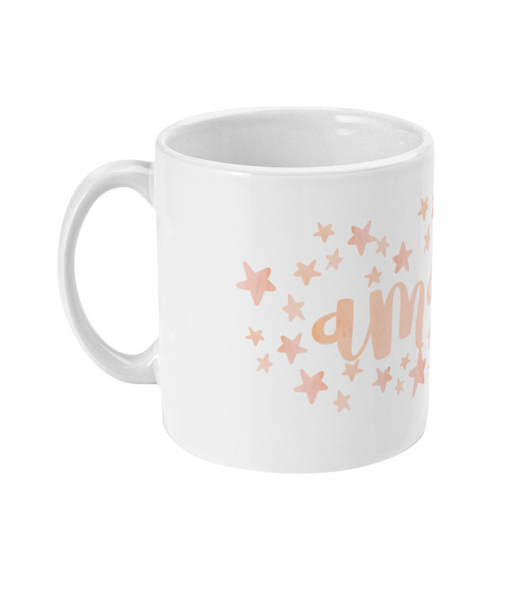 Personalised Star Mug Pink White Punch