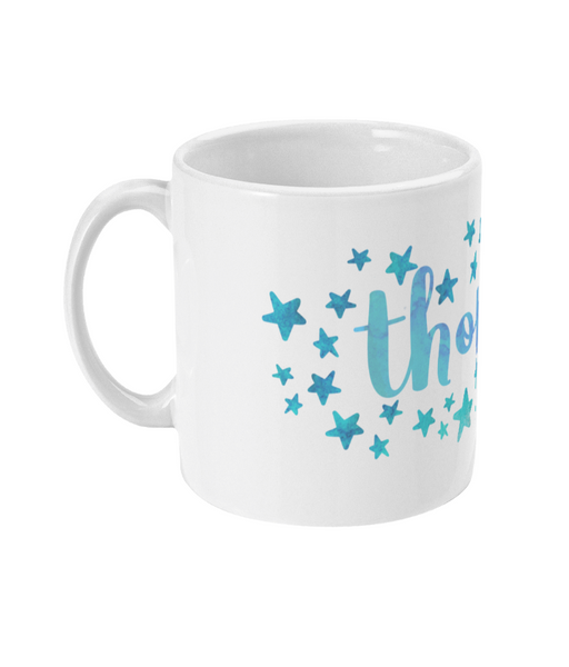 Personalised Star Mug Blue White Punch