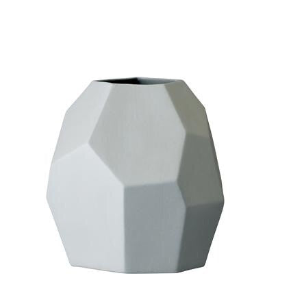 Large multi faced porcelain vase, light blue