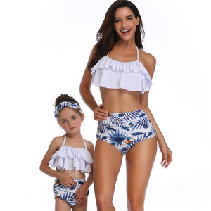 2020 Mother Daughter Popular Swimwear Printed High Waist Bikini Parent-child Swimsuits Water Play Wear