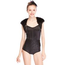 MiDee Black Swan Sequins Leotard with Fur Jacket for Modern Dancing Costumes
