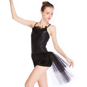 Black Swan Feather Neckline Jazz Dance Costume Night Costume 2 Pieces
