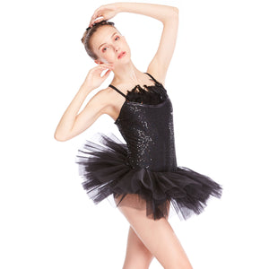 MiDee Adult Ballet Tutu Black Feather Swan Dress Ballerina Dance Costumes