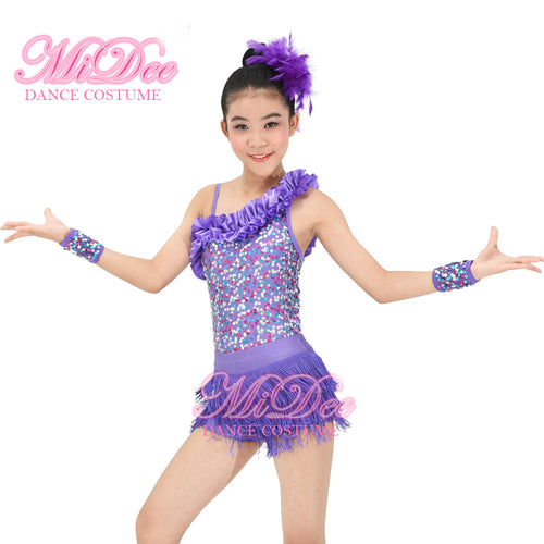 Latin Dance Wristbands Accessories One Shoulder Sequins Kids Dancewear Dresses