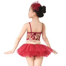 Floral Sequined Tutu Dress Dance Costume Performance Clothes for Girls