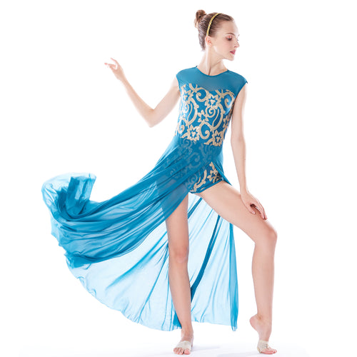 MiDee Lyrical Costume Modern Dance Leotard Dress Performance Competition Clothes