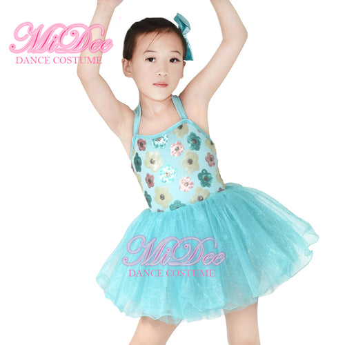 Floral Sequins Dance Dress Tutu Kids Dance Wear Dance Costume Tutu For Girls