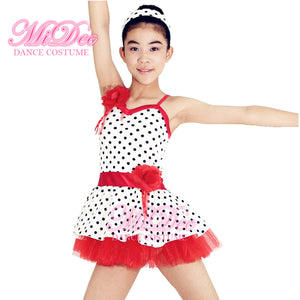 Red & White Polka Dots Dance Dress Kids Dance Clothes Ballet Dance Costume