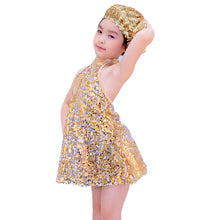Mock Neck A-Line Jazz Costume Fully Sequined Dance Dresses for Girls