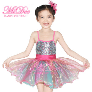 MiDee Stage Costume Dresses For Children's Ballroom Dance Dress Girls Dance Costume