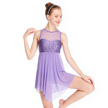 MiDee Lyrical Dance Costume Dress Illusion Sweetheart Sequins Triangle Cut Skirt Clearance