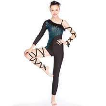 MiDee Sequins Feather Neck Acrobat Costume Dance Wear Bodysuit Rocking Jumpsuit Clothes