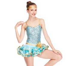 MiDee Sequined Wired Curely Hem Tiered Emerald Modern Dance Costumes Dress