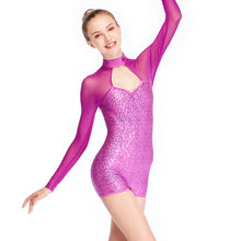 Biketard Dance Costume Sporty Gym Performance Wear Mesh Joints Sequins Long-sleeves