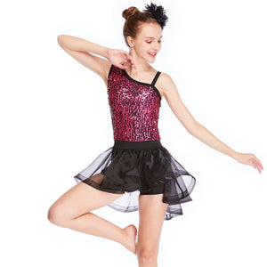 MiDee Sequins Ballet Tutu Stage Performance Costumes Gymnastics Dance Dress