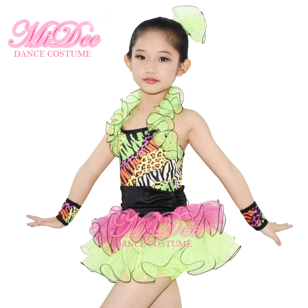 MiDee Ruffle Tiers Skirt and Ruffle Neckline with Black Fishline Edged Jazz Dance Outfit