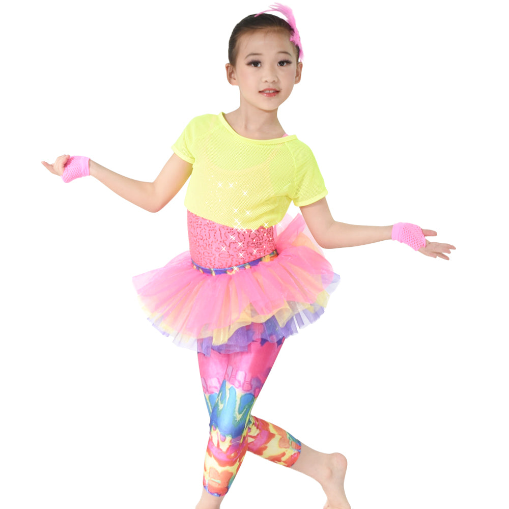 6 Pieces Colorful Dance Costume Girls Skirt Pants Fishnet Tank Sequins Leotard Performance Outfits
