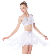 MiDee Elegant Soft Mesh Skirt Dianogal Sequins Top Modern Dance Costumes