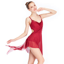 MiDee Lyrical Dresses Contemporary Dance Costume High-Low with Spiral Flies