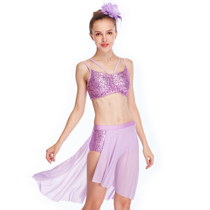 MiDee Elegant Dance Costumes Gymnastics Sequins Performance Competition Costumes For Girls