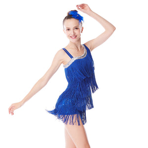 MiDee Teen Girl Belly Wiggles Tassels Performance Costume Latin Dance Dress