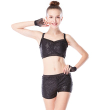 Sequins Crop Top & Sequined Shorts Dance Gym Costumes 2 Pieces Full Sequins Bodysuit Uniform Cheer Leading Outfits