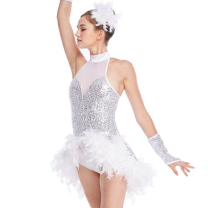 MiDee Stunning Jazz Latin Competition Costume Mock Neck Sequins Feather Trimmed