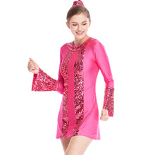 A-Line 3/4 Sleeves Lycra Joints Sequins Jazz Costume Dance Dresses Competition Wear