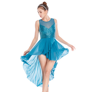 070680d745752 MiDee Lyrical Dresses Modern Stage Performance Costumes Wide V-Neck  High-Low Spiral Cut