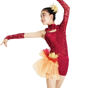 Floral Band Across Bodice Dress Modern Dance Costumes With One Sleeve