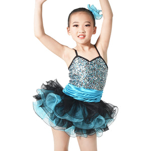 Two-Tones Tires Tutu Dress for Girls Dancing Performance Competition Costume Clothes