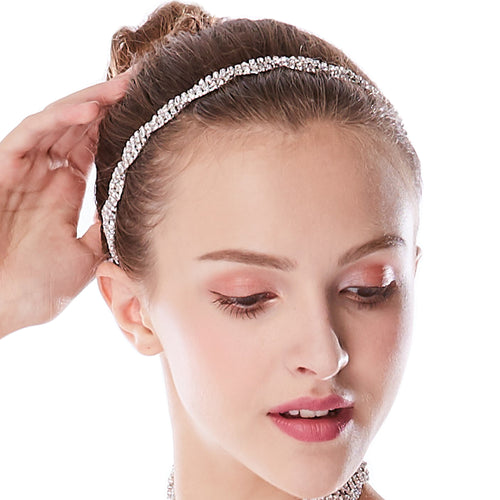 Double Rows Rhinestone Clown Chain Spiral Headband Sparkle Hair Band Head Wear Headpiece Fashion Accessory Hair Decoration CCK039HP