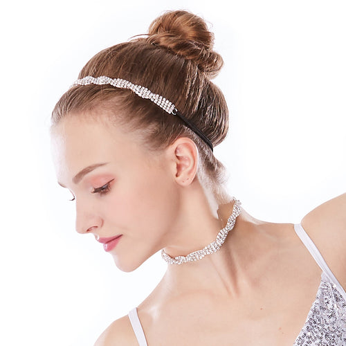 Double Rows Rhinestone Clown Chain Spiral Choker & Headband Set Sparkle Accessory Set Decoration for Neck Wear and Head Wear Set CCK039CKHP