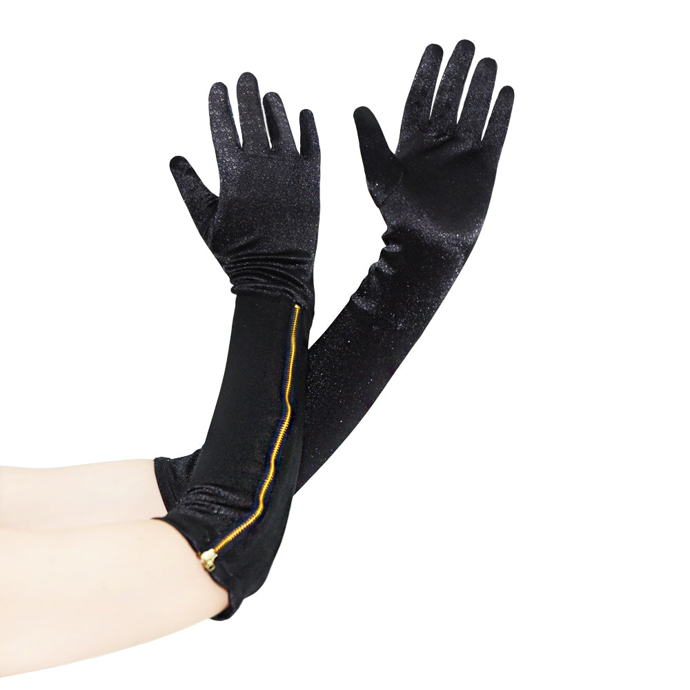 Black Velvet Full Fingers Gloves Arm Wear Accessories Arm Length Zipper-up CGL036A